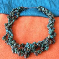 "💥 🎉HP🎉Turquoise Chip Statement Necklace 💥 Price firm unless bundled💥 Up to 19"" adjustable. Natural tone simulated turquoise chip stones. Abuelita's Attic Jewelry Necklaces"