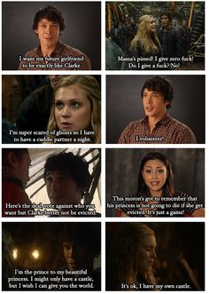 The 100 & Big Brother crossover (part3) by no-one-and-everyone (Tumblr) || Clarke Griffin (Eliza Taylor), Bellamy Blake (Bob Morley), Raven Reyes (Lindsey Morgan) || Bellarke
