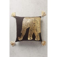 Anthropologie Traveling Elephant Pillow ($78) via Polyvore featuring home, home decor, throw pillows, black, black throw pillows, elephant home decor, black toss pillows, elephant home accessories and anthropologie