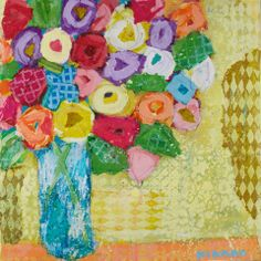 Bunches of Roses on Yellow  30x30 mixed media  Atelier Galleries 843-722-5668