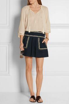 Étoile Isabel Marant | Vittoria embroidered cotton-gauze mini skirt | NET-A-PORTER.COM
