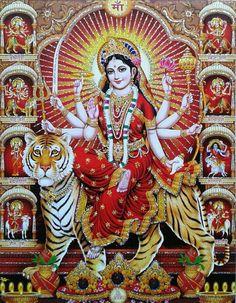 Durga Ji, Durga Goddess, Happy Navratri Wishes, Maa Durga Image, Lord Photo, Ganapati Decoration, Durga Images, Lord Shiva Family, Tanjore Painting