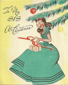 To My Sis ~ Vintage Christmas Card