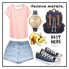 """#156 hakuna matata"" by xjet1998x ❤ liked on Polyvore featuring Victoria's Secret, Olivia Burton, SM New York, Converse and KING"