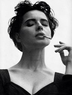 Actress Isabella Rossellini in Dolce & Gabbana. Her mother was Ingrid Bergman. She was married to Martin Scorsese from 1979 to Photo by Steven Meisel Steven Meisel, Guy Bourdin, Isabella Rossellini, Helmut Newton, Women Smoking, Girl Smoking, Photo Portrait, Portrait Photography, Coppola