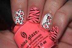 Neon Animal Print Nails