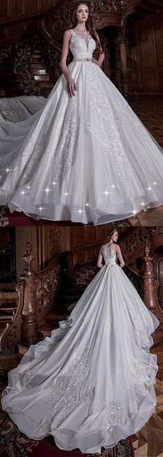 Delicate Tulle Jewel Neckline Ball Gown Wedding Dress With Lace Appliques & Beadings & Belt