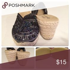 BOGO free!  Espadrilles size 10 Natural reflections heels with bead bling. Have been worn but are in good condition.  2 1/2 inch heels.  🌾👠👠👗🌴🌾🌿🌸.  (Be sure to ask about our BOGO FREE offer!!  Look for details listing in closet!) Natural Reflections Shoes Espadrilles