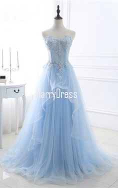 Sky Blue A Line Sweetheart Tulle Sequins Appliques Lace Long Prom Dress