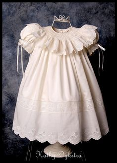 Swiss Eyelet smocked collar dress by kathy m d, via Flickr