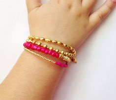 Gold Duo two strand stack type bracelet by JuneandPenny on Etsy