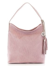 Loving this Pink Weave-Pattern Leather Hobo on #zulily! #zulilyfinds