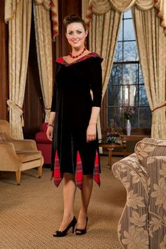 Fiona is a three quarter length dress with a pretty handkerchief tartan/plaid hem and wide, deep tartan V neck that covers the shoulders. Fiona is available sleeveless or with three quarter length sleeves. A fun and flattering dress perfect for highland dancing! Available at http://shop.tartantouch.co.uk/ for £139.99. Tartan, highland, fashion, dress, plaid