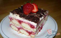 Osvěžující jahodové tiramisu s bílou čokoládou Sweet Desserts, No Bake Desserts, Easy Desserts, Food Decoration, Sweet Cakes, Cake Cookies, Deserts, Food Porn, Food And Drink