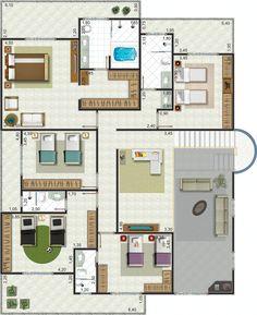 Projeto de sobrado de 5 quartos com 363.10m²