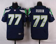 Nike Seattle Seahawks #77 Ahtyba Rubin Blue Elite Jersey