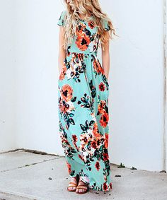 Loving this Mint Floral Short-Sleeve Maxi Dress on #zulily! #zulilyfinds