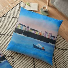Large Cushions, Weird Holidays, Mixed Media Painting, Meaningful Gifts, Pillow Design, Top Artists, Floor Pillows, Vibrant, Flooring