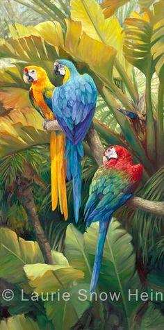 Laurie Snow Hein - Artiste Peintre Contemporaine - Huile - Perroquets Tropicaux