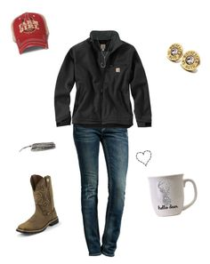 """""""Everyday life"""" by kansascountrygirl ❤ liked on Polyvore featuring Rock Revival, Carhartt, Barbed, Justin Boots, Chan Luu and Icon Brand"""