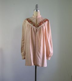 70s pastel pink Ted Lapidus silk tunic  by dustyrosevintage, $128.00