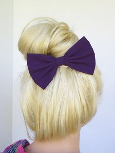 Plum hair bow clip for woman teens and girls. Perfect for back to school fashion accessories to dress up your everyday cute and girly outfits ♥