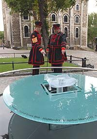 Tower of London--Tower Green Memorial--marks the spot where 7 nobles were executed including Anne Boleyn, Catherine Howard, and Lady Jane Grey