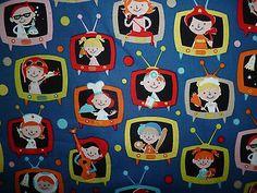 CLEARANCE   FQ CHILDREN TELEVISION JOBS FABRIC RETRO KITSCH