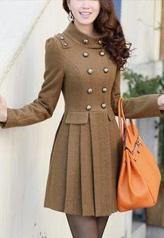 Stand-up collar long Slim woolen coat jacket Black/ Coffee Stylish Kurtis Design, Stylish Dress Designs, Stylish Dresses, Classy Outfits, Stylish Outfits, Dress Outfits, Fashion Dresses, Coats For Women, Clothes For Women