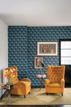 Arcade by Farrow & Ball - Blue - Wallpaper - BP 5306 Art Deco Wallpaper, Home Wallpaper, Wallpaper Ideas, Wallpaper Installation, Amazing Wallpaper, Bathroom Wallpaper, Arcade, Farrow Ball, Blue And Mustard Living Room