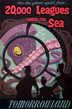 """Poster for the """"Nautalus"""" exhibit, a tie-in promo for """"20,000 Leagues Under the Sea""""."""