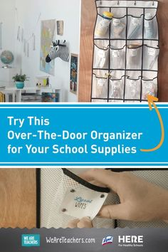 Try This Over-The-Door Organizer for Your School Supplies—Transform your school supply organization with a simple-to-make and easy-to-use over-the-door organizer. Use it in your classroom or your teach-from-home space! Classroom Organization Labels, Organizing Labels, School Supplies Organization, Classroom Supplies, Classroom Door, Over The Door Organizer, Hanging Shoe Organizer, Shoe Storage Unit, Healthy Schools