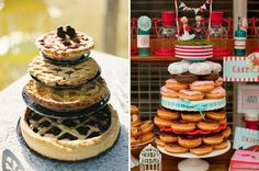Non traditional wedding cakes - pies / tarts and donuts. It's my dream come true! PIE!