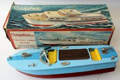 Vintage Battery Operated Tinplate Lithographed CRAGSTAN Boat w/ Working Lights