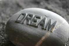 Dream Engraved Gray Stone Inspirational Paperweight