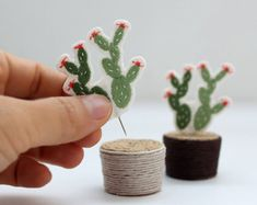 Mini embroidered cactus pin (pot not included)