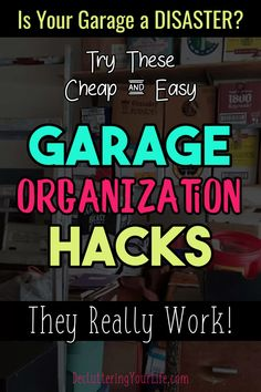 Garage storage and organization hacks - cheap and easy ways to organize your garage on a budget. Get organized and STAY organized in your garge by decluttering your garage clutter. These organizing ideas really work! Small Garage Organization, Garage Storage Solutions, Diy Garage Storage, Home Organization Hacks, Organizing Ideas, Getting Organized At Home, Garage Remodel, Organizer, Decluttering