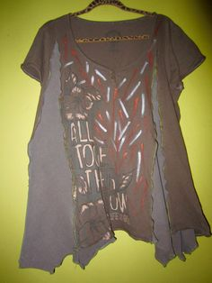Upcycled Hand Painted Taupe Life Is Good Shirt fits L XL