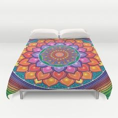Duvet Cover featuring Lotus Rainbow Mandala by Elspeth McLean