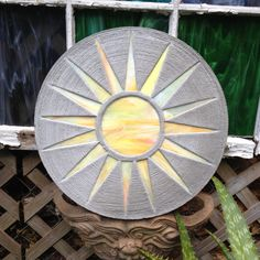 """Yellow Sun Stepping Stone BIG 18"""" Concrete Stained Glass Mosaic Yard Art Garden Path Decor Ornament Colorful Beach Cottage Pool Walkway by SteppingStoneYardArt on Etsy"""