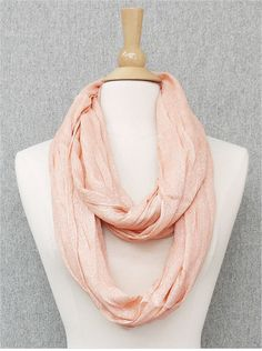 Peach and Gold Metallic Infinity Scarf