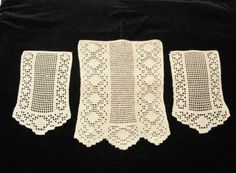 Antique Crochet Antimacassar 3 Pc Set ~ Chair Back & Arm Doily Covers ~ nice Vintage Touch $12.00