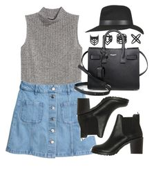 """""""Style #11389"""" by vany-alvarado ❤ liked on Polyvore featuring H&M, Topshop, Monki and Yves Saint Laurent"""