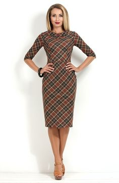 Стильное платье в клетку от Donna Saggia / DSP-154-64t