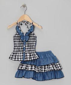 Lele Vintage Black Checkerboard Halter Top & Tiered Skirt - Toddler & Girls by Lele Vintage #zulily #zulilyfinds