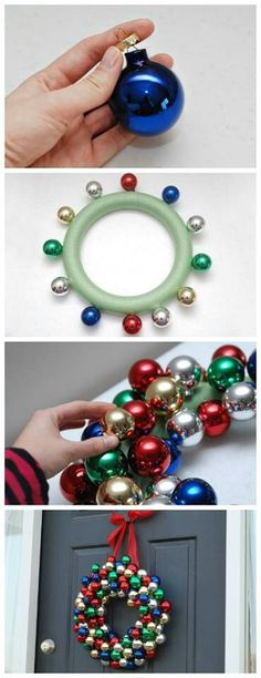 Coronas de Navidad Super simple and inexpensive Christmas wreath. Handmade Christmas wreaths are the best. Find inspiration at Hobbycraft Christmas Ornament Wreath, Noel Christmas, Holiday Wreaths, Handmade Christmas, Bauble Wreath, Christmas Ideas, Diy Christmas Projects, Christmas Foods, Primitive Christmas