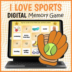 DIGITAL Sports Memory Game - I Love Sports Matching Game by Drag Drop Learning Fun Classroom Activities, Group Activities, Sports Day Games, Interactive Whiteboard, Educational Games For Kids, Different Sports, Try To Remember, Memory Games, Your Teacher