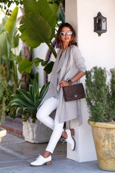 """justthedesign: """"Annabelle Fleur in a pale grey draped trench coat from All Saints """" Estilo Fashion, Fashion Mode, Look Fashion, Womens Fashion, Street Chic, Street Style, Paris Street, Street Wear, Outfits Casual"""