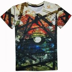 Casual Round Collar Colorful Printed T-Shirt For Men