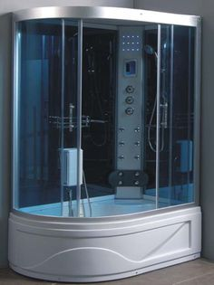 Steam Shower Room With deep Tub L90S02  $1359.00    Dimensions: 52in. × 34in. × 85in.  Weight: 280 lb.  SKU: L90S02  Sorry, this item is out of stock  General Information  Material: * ABS board * Tempered glass * Aluminum alloy * Stainless steel frame (under tub) * Fiberglass PRODUCT SPECIFICATIONS: * Touch screen MK117L LCD control panel * 6 Body massage Jets * Overhead rainfall shower head * Multifunction sliding handle shower * Digital timer and water temp control * FM radio * Hand free…